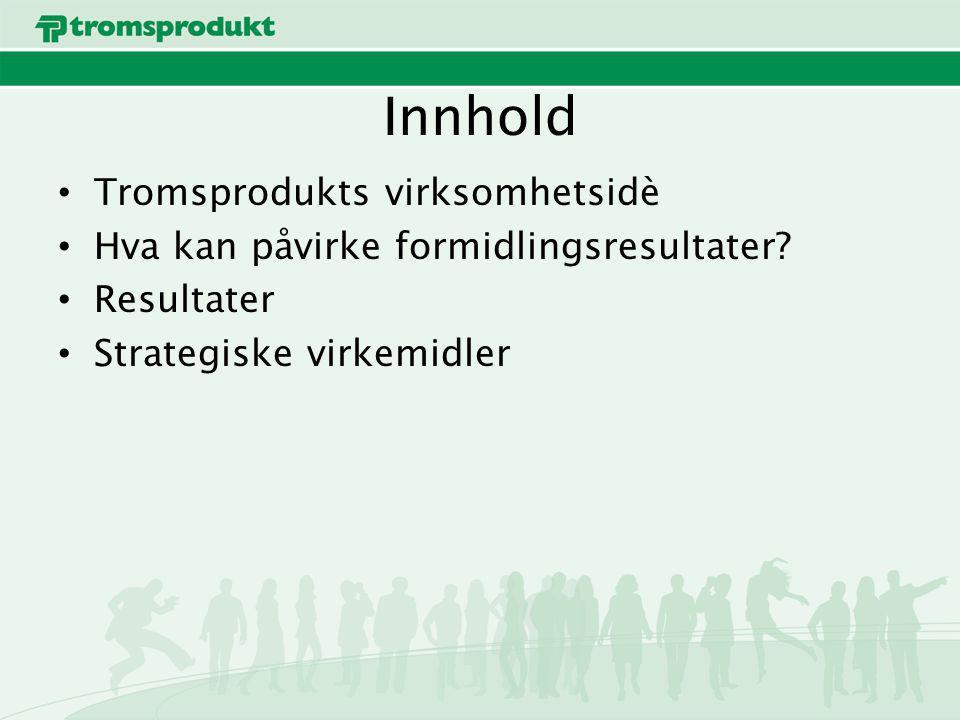 Innhold Tromsprodukts virksomhetsidè Hva kan påvirke formidlingsresultater? Resultater Strategiske virkemidler
