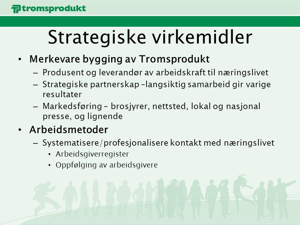 Strategiske virkemidler Merkevare bygging av Tromsprodukt – Produsent og leverandør av arbeidskraft til næringslivet – Strategiske partnerskap –langsiktig samarbeid gir varige resultater – Markedsføring – brosjyrer, nettsted, lokal og nasjonal presse, og lignende Arbeidsmetoder – Systematisere/profesjonalisere kontakt med næringslivet Arbeidsgiverregister Oppfølging av arbeidsgivere