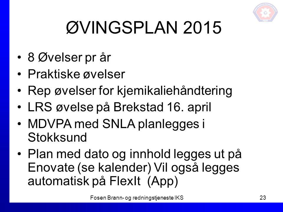 ØVINGSPLAN 2015 8 Øvelser pr år Praktiske øvelser Rep øvelser for kjemikaliehåndtering LRS øvelse på Brekstad 16. april MDVPA med SNLA planlegges i St