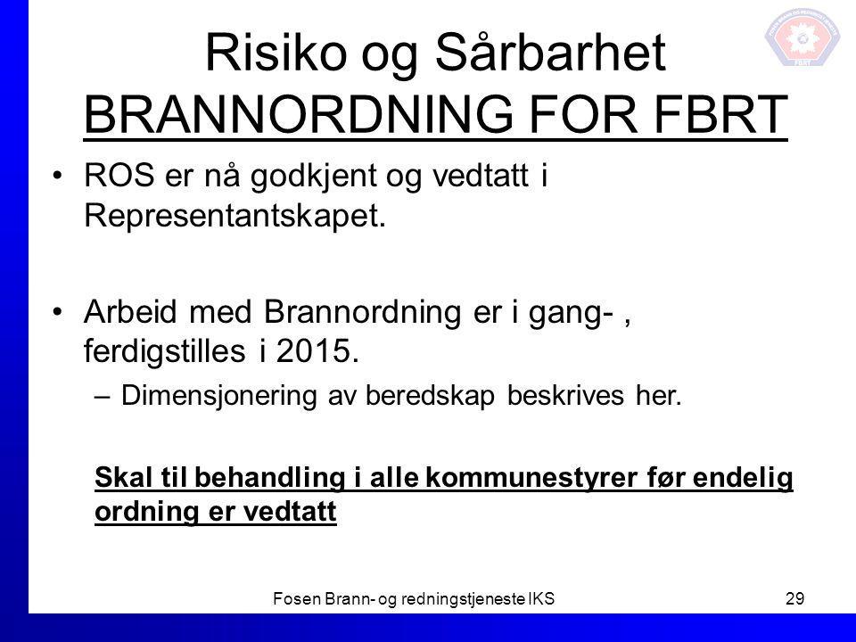 Risiko og Sårbarhet BRANNORDNING FOR FBRT ROS er nå godkjent og vedtatt i Representantskapet. Arbeid med Brannordning er i gang-, ferdigstilles i 2015