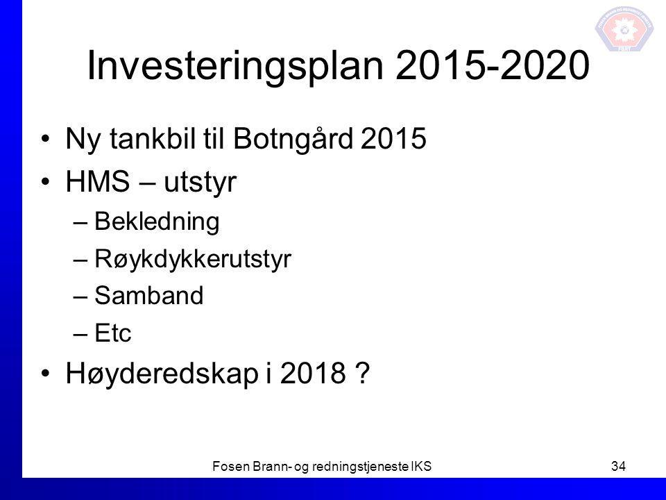 Investeringsplan 2015-2020 Ny tankbil til Botngård 2015 HMS – utstyr –Bekledning –Røykdykkerutstyr –Samband –Etc Høyderedskap i 2018 ? Fosen Brann- og