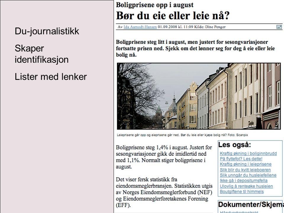 Du-journalistikk Skaper identifikasjon Lister med lenker