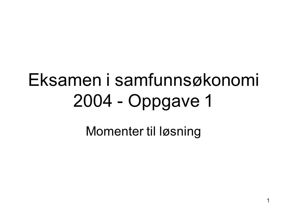 1 Eksamen i samfunnsøkonomi 2004 - Oppgave 1 Momenter til løsning
