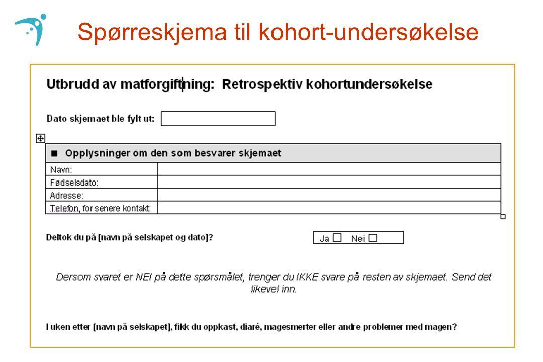 Spørreskjema til kohort-undersøkelse