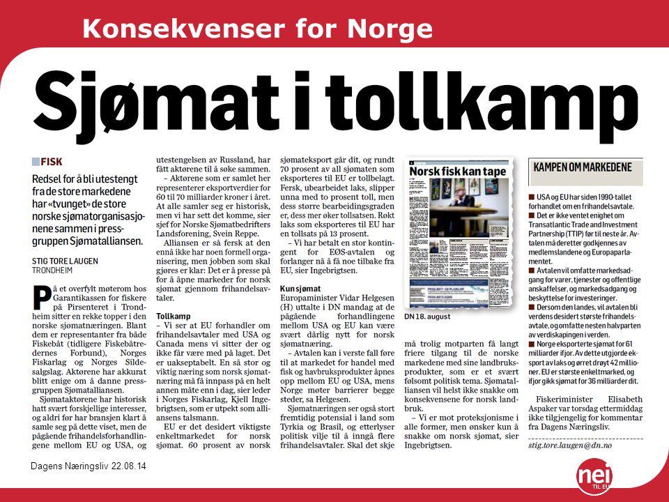Konsekvenser for Norge Dagens Næringsliv 22.08.14