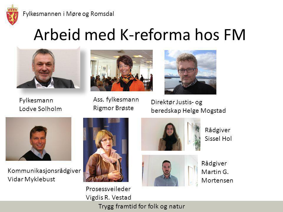 Fylkesmannen i Møre og Romsdal Trygg framtid for folk og natur Arbeid med K-reforma hos FM Fylkesmann Lodve Solholm Ass. fylkesmann Rigmor Brøste Dire