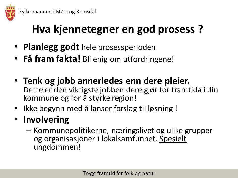 Fylkesmannen i Møre og Romsdal Trygg framtid for folk og natur Hva kjennetegner en god prosess ? Planlegg godt hele prosessperioden Få fram fakta! Bli