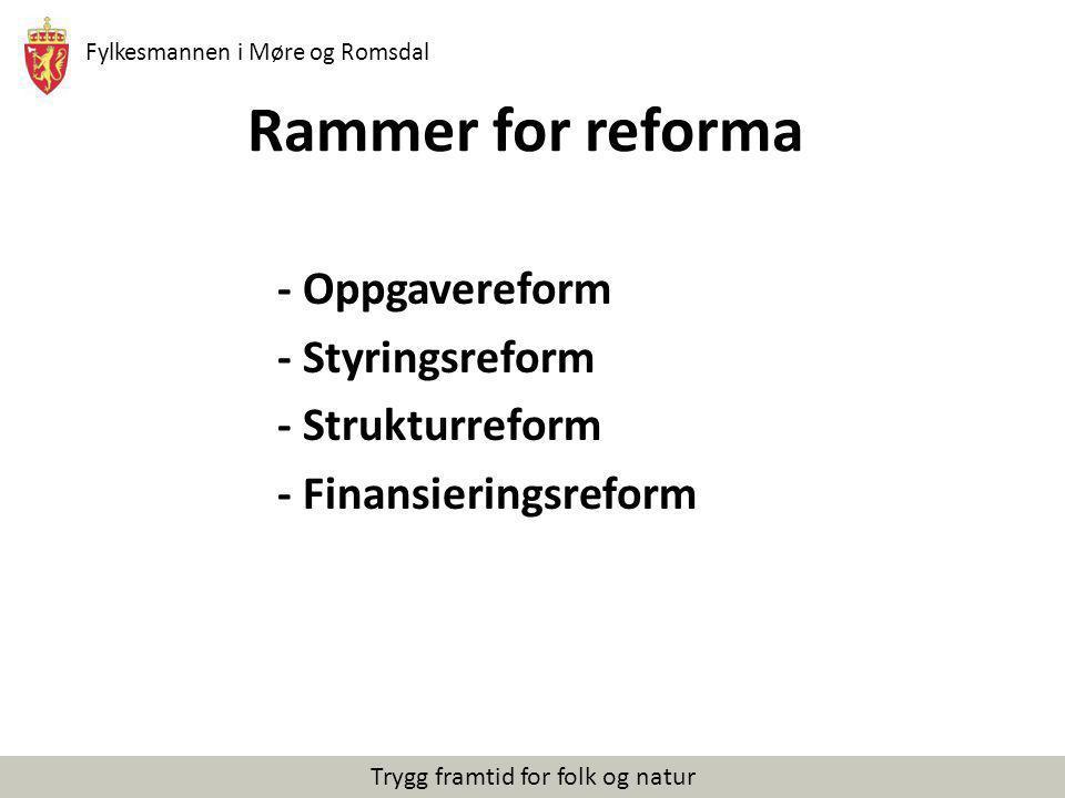 Fylkesmannen i Møre og Romsdal Trygg framtid for folk og natur Rammer for reforma - Oppgavereform - Styringsreform - Strukturreform - Finansieringsref