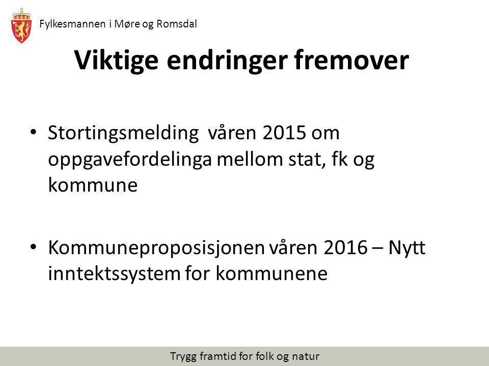Fylkesmannen i Møre og Romsdal Trygg framtid for folk og natur Viktige endringer fremover Stortingsmelding våren 2015 om oppgavefordelinga mellom stat