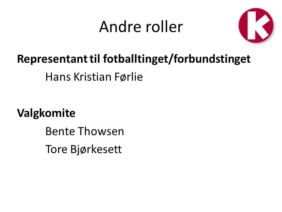 Andre roller Representant til fotballtinget/forbundstinget Hans Kristian Førlie Valgkomite Bente Thowsen Tore Bjørkesett
