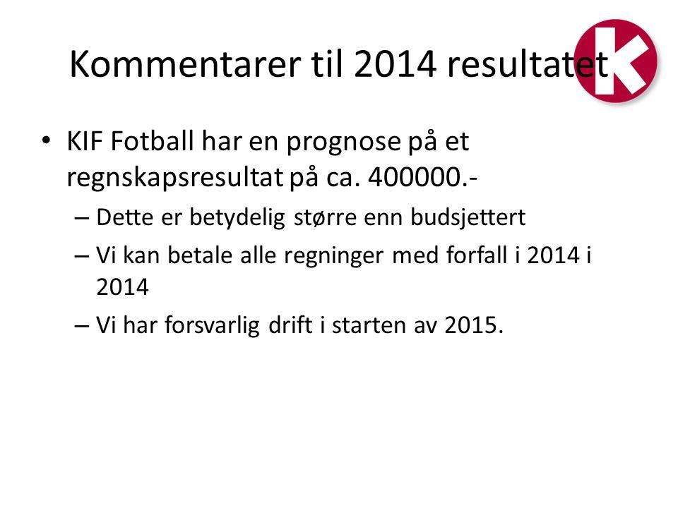 Kommentarer til 2014 resultatet KIF Fotball har en prognose på et regnskapsresultat på ca.