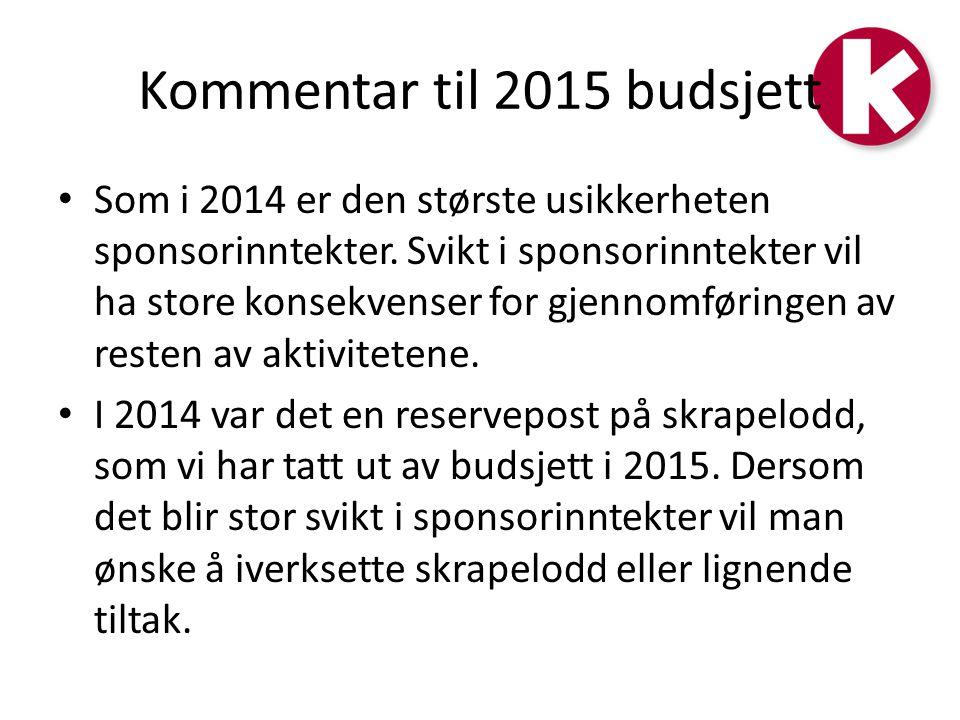 Kommentar til 2015 budsjett Som i 2014 er den største usikkerheten sponsorinntekter.