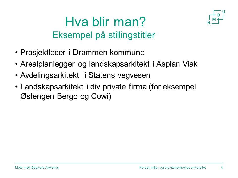 Hva blir man? Eksempel på stillingstitler Prosjektleder i Drammen kommune Arealplanlegger og landskapsarkitekt i Asplan Viak Avdelingsarkitekt i State