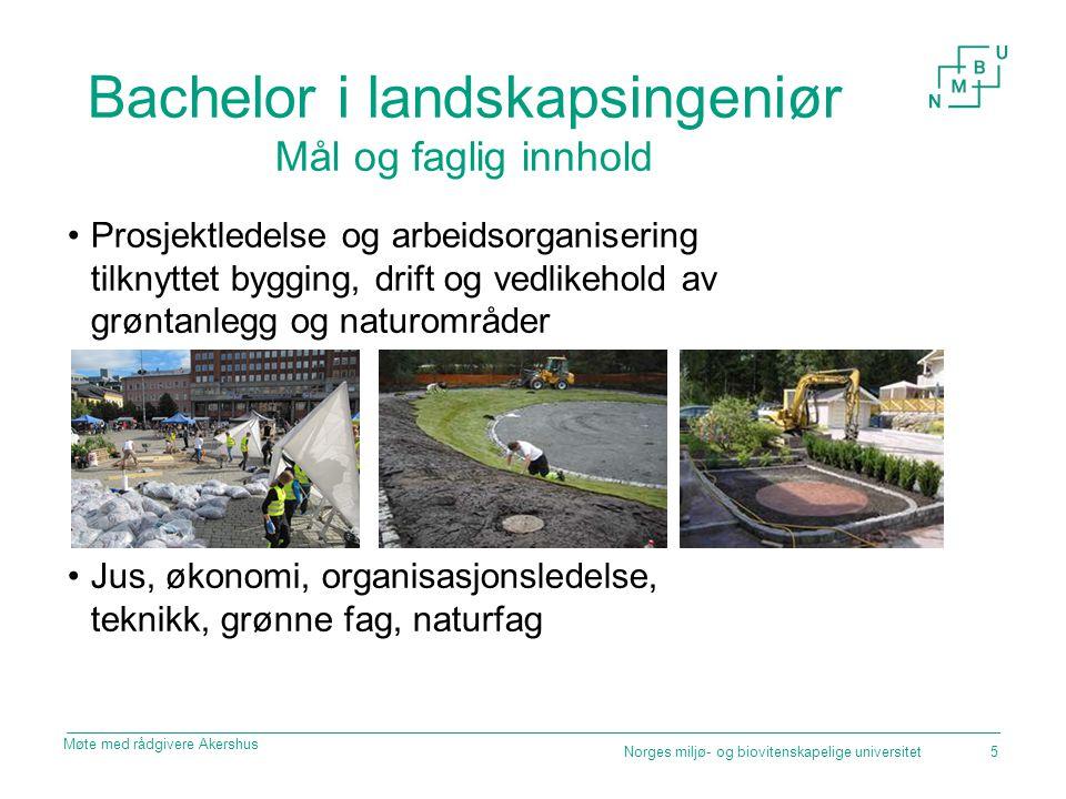 Bachelor i landskapsingeniør Mål og faglig innhold Prosjektledelse og arbeidsorganisering tilknyttet bygging, drift og vedlikehold av grøntanlegg og n