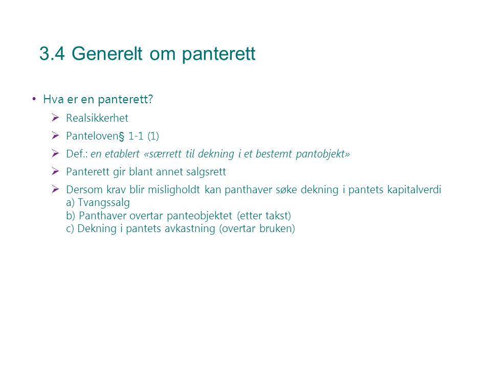 3.4 Generelt om panterett Hva er en panterett?  Realsikkerhet  Panteloven§ 1-1 (1)  Def.: en etablert «særrett til dekning i et bestemt pantobjekt»