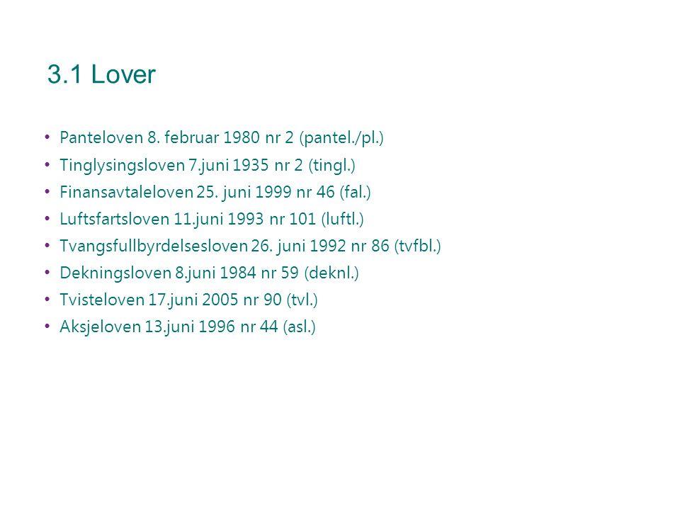 3.1 Lover Panteloven 8. februar 1980 nr 2 (pantel./pl.) Tinglysingsloven 7.juni 1935 nr 2 (tingl.) Finansavtaleloven 25. juni 1999 nr 46 (fal.) Luftsf