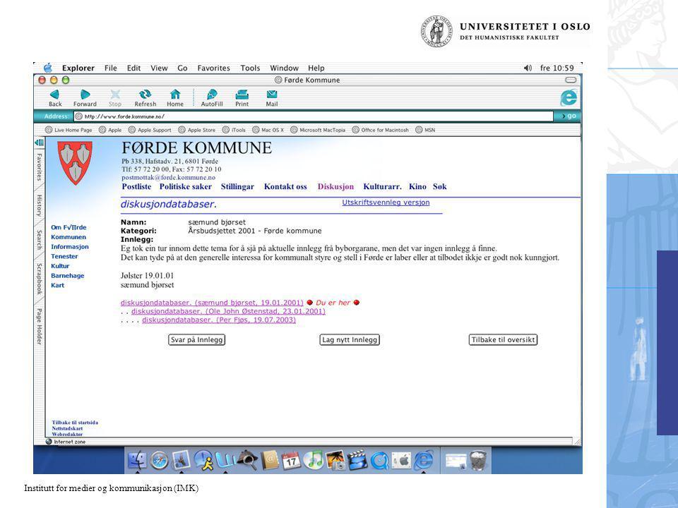 Institutt for medier og kommunikasjon (IMK)