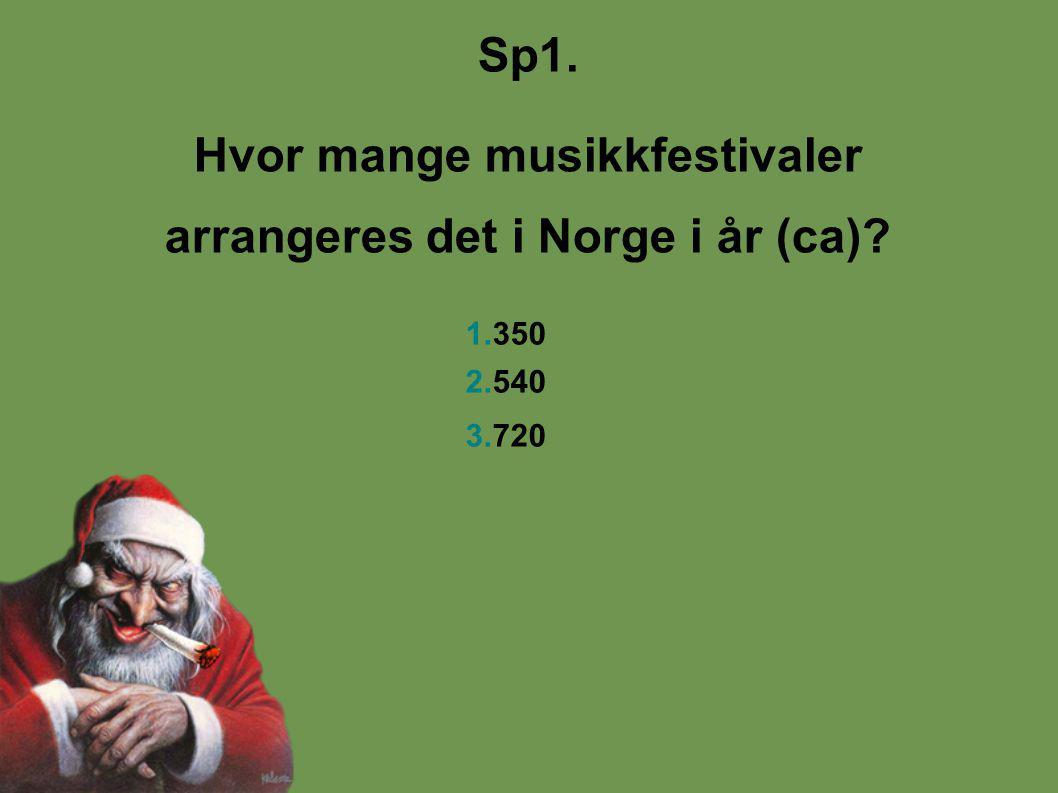 Sp1. Hvor mange musikkfestivaler arrangeres det i Norge i år (ca) 1.350 2.540 3.720
