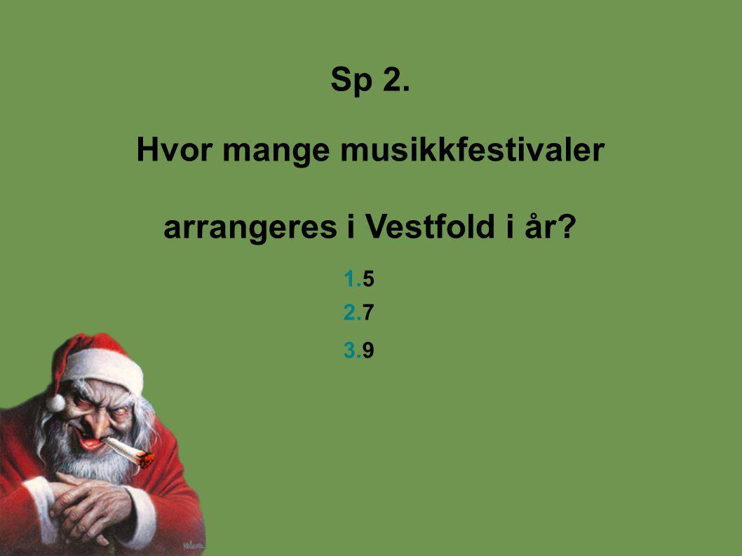 Sp 2. Hvor mange musikkfestivaler arrangeres i Vestfold i år? 1.5 2.7 3.9