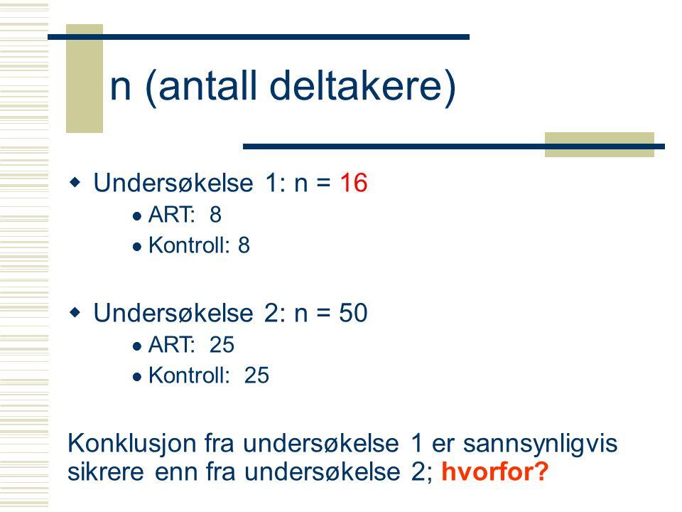 n (antall deltakere)  Undersøkelse 1: n = 16 ART: 8 Kontroll: 8  Undersøkelse 2: n = 50 ART: 25 Kontroll: 25 Konklusjon fra undersøkelse 1 er sannsynligvis sikrere enn fra undersøkelse 2; hvorfor?