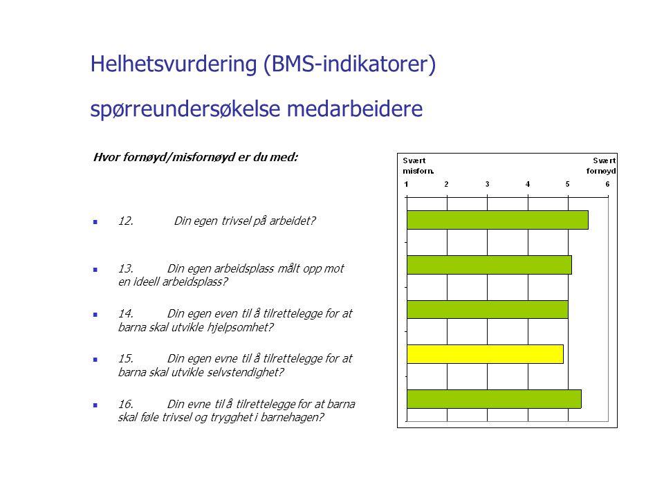 Helhetsvurdering (BMS-indikatorer) spørreundersøkelse medarbeidere Hvor fornøyd/misfornøyd er du med: 12.