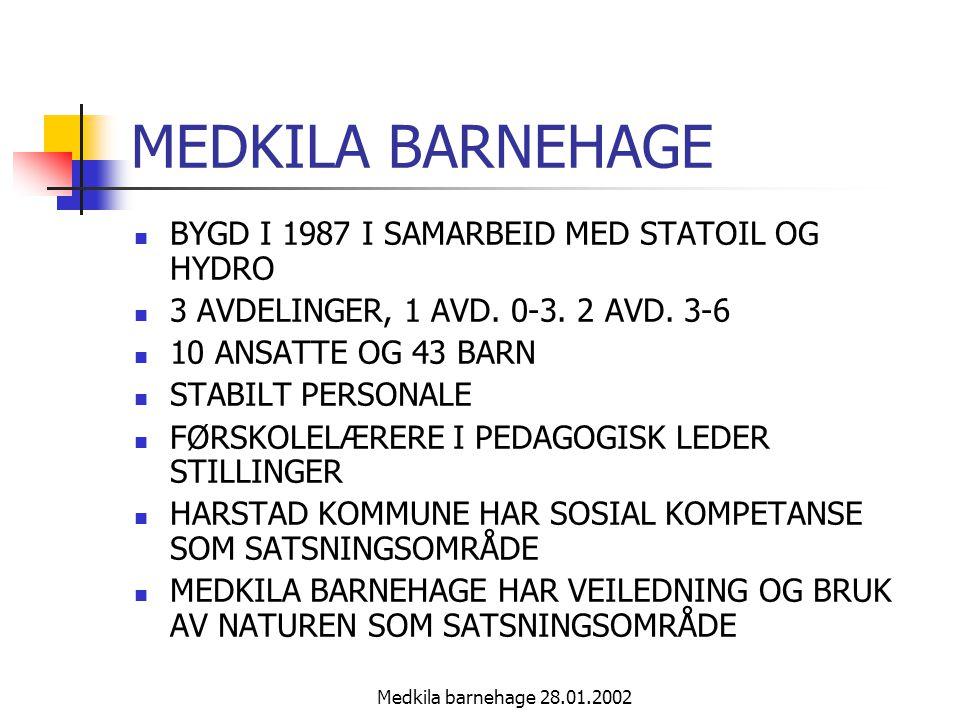 Medkila barnehage 28.01.2002 MEDKILA BARNEHAGE BYGD I 1987 I SAMARBEID MED STATOIL OG HYDRO 3 AVDELINGER, 1 AVD.