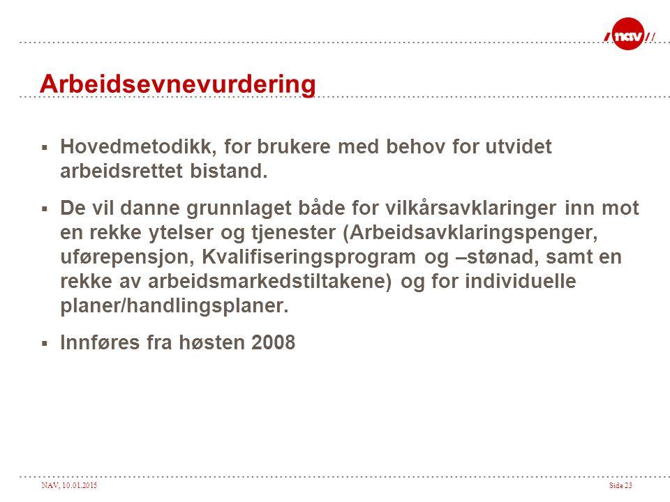 NAV, 10.01.2015Side 23 Arbeidsevnevurdering  Hovedmetodikk, for brukere med behov for utvidet arbeidsrettet bistand.  De vil danne grunnlaget både f