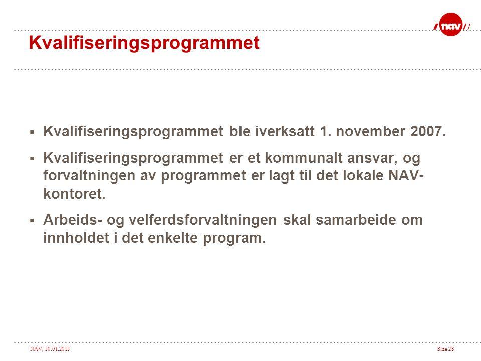 NAV, 10.01.2015Side 28 Kvalifiseringsprogrammet  Kvalifiseringsprogrammet ble iverksatt 1. november 2007.  Kvalifiseringsprogrammet er et kommunalt