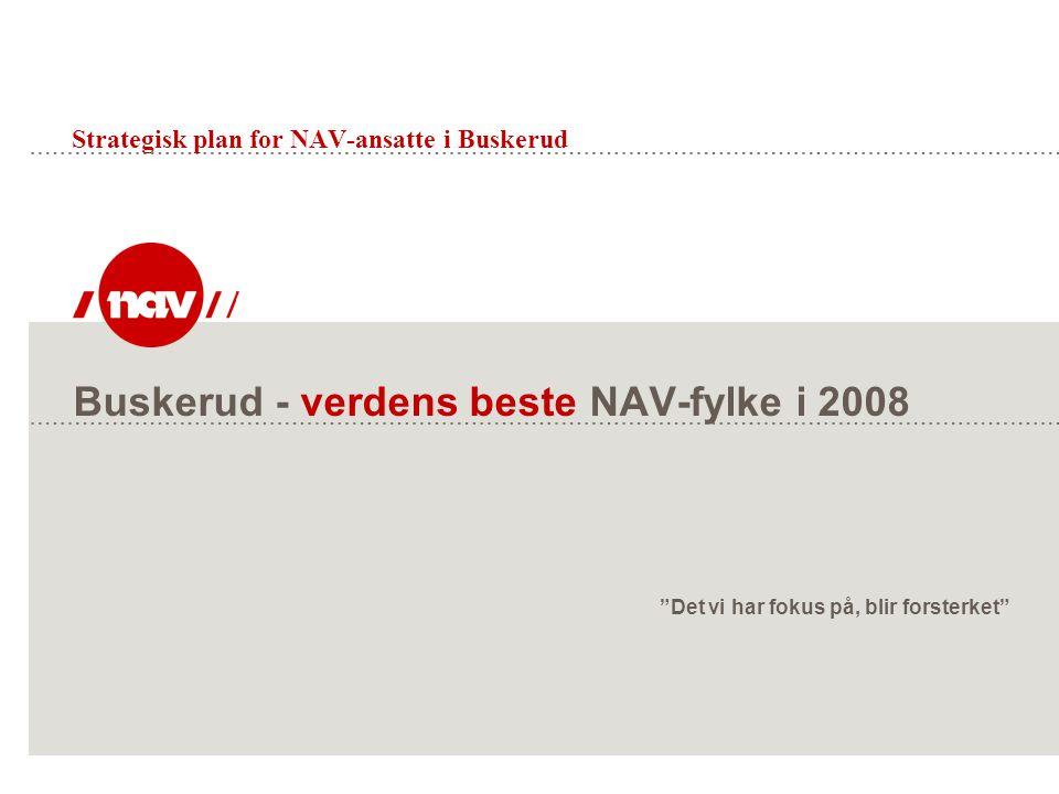"""Buskerud - verdens beste NAV-fylke i 2008 """"Det vi har fokus på, blir forsterket"""" Strategisk plan for NAV-ansatte i Buskerud"""