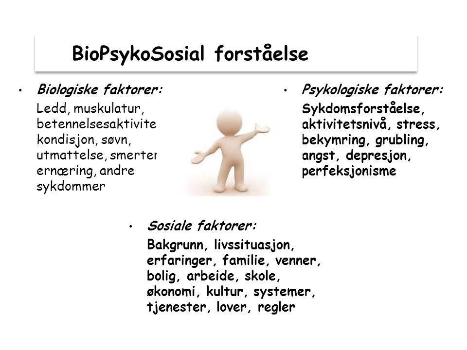 BioPsykoSosial forståelse Psykologiske faktorer: Sykdomsforståelse, aktivitetsnivå, stress, bekymring, grubling, angst, depresjon, perfeksjonisme Sosiale faktorer: Bakgrunn, livssituasjon, erfaringer, familie, venner, bolig, arbeide, skole, økonomi, kultur, systemer, tjenester, lover, regler Biologiske faktorer: Ledd, muskulatur, betennelsesaktivitet, kondisjon, søvn, utmattelse, smerter, ernæring, andre sykdommer