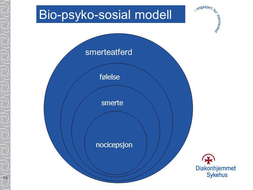 19 nocisepsjon smerte følelse smerteatferd Bio-psyko-sosial modell nocicepsjon følelse smerte