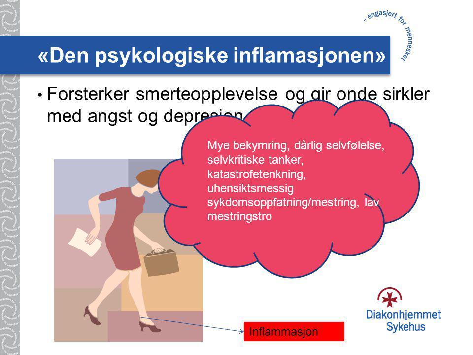 «Den psykologiske inflamasjonen» Forsterker smerteopplevelse og gir onde sirkler med angst og depresjon Mye bekymring, dårlig selvfølelse, selvkritiske tanker, katastrofetenkning, uhensiktsmessig sykdomsoppfatning/mestring, lav mestringstro Inflammasjon