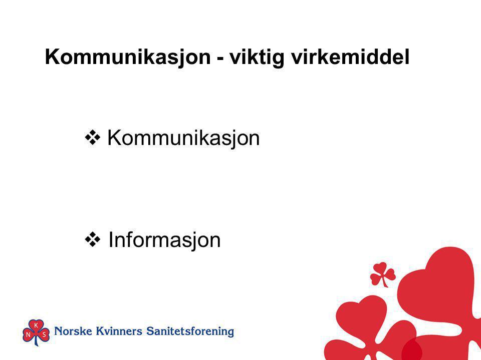 Kommunikasjon - viktig virkemiddel  Kommunikasjon  Informasjon