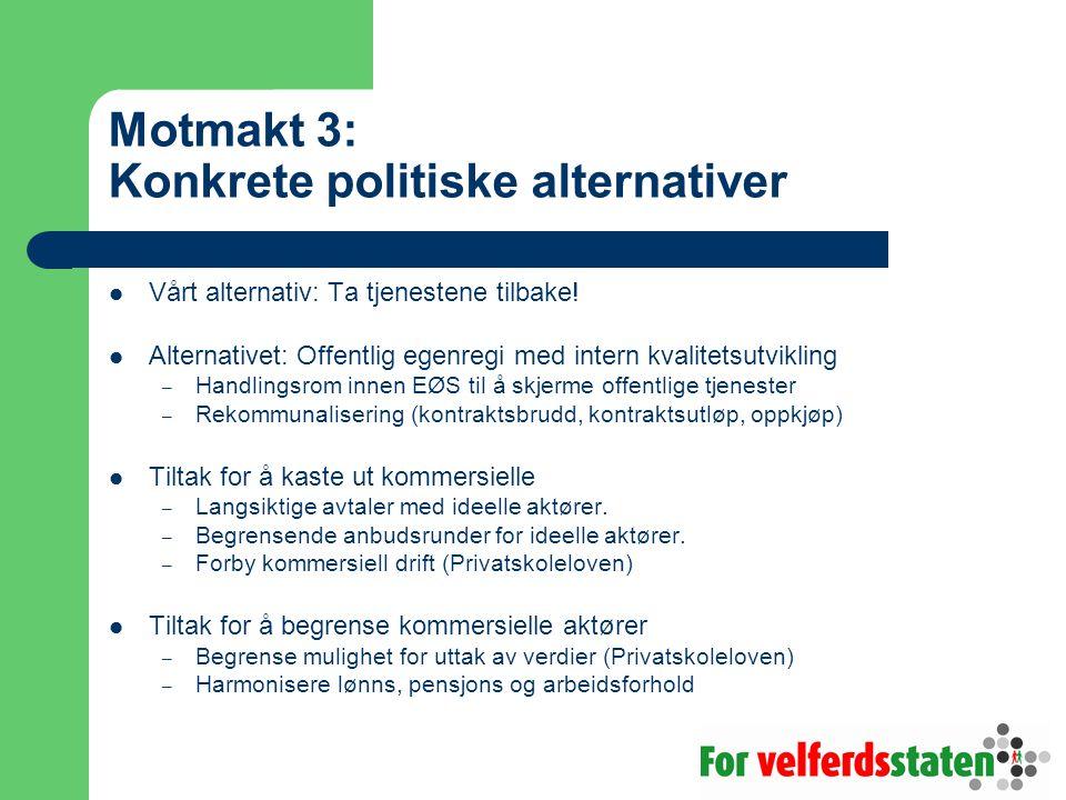 Motmakt 3: Konkrete politiske alternativer Vårt alternativ: Ta tjenestene tilbake.
