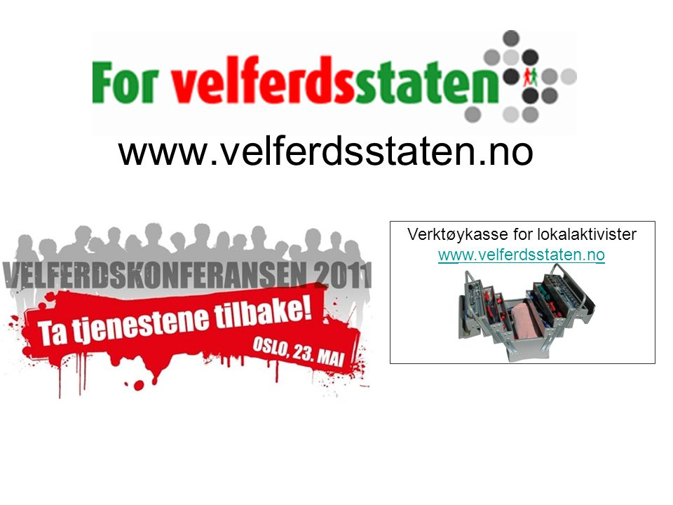 www.velferdsstaten.no Verktøykasse for lokalaktivister www.velferdsstaten.no www.velferdsstaten.no