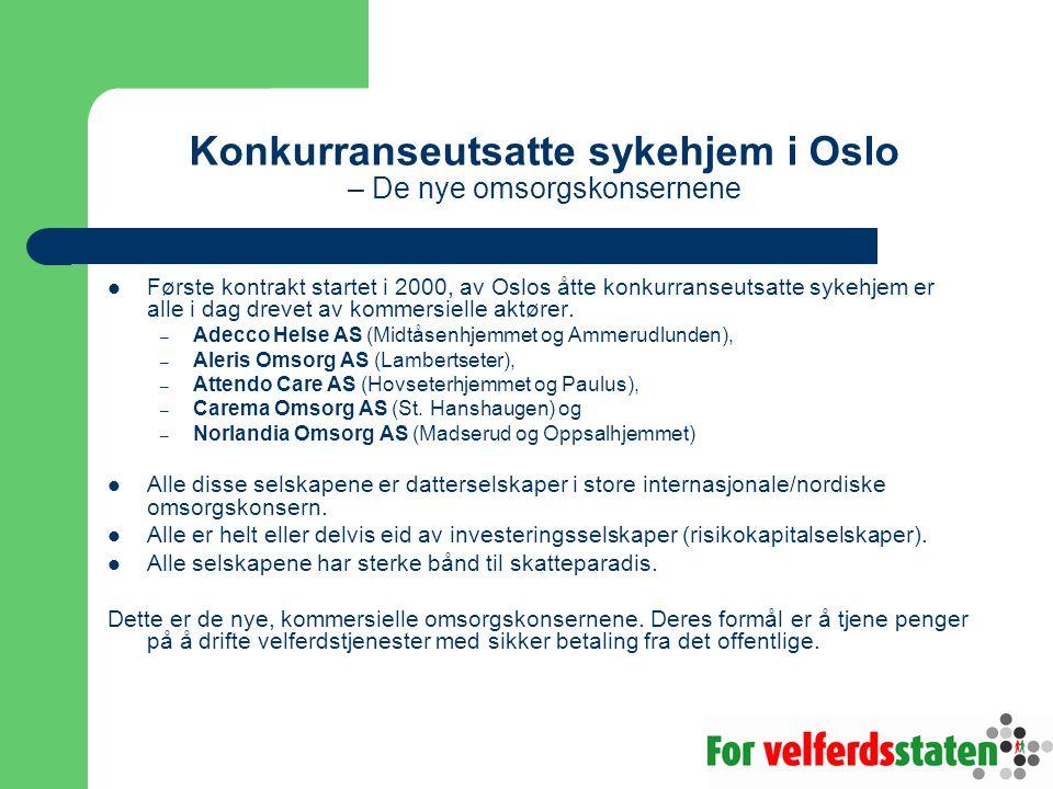Konkurranseutsatte sykehjem i Oslo – De nye omsorgskonsernene Første kontrakt startet i 2000, av Oslos åtte konkurranseutsatte sykehjem er alle i dag drevet av kommersielle aktører.