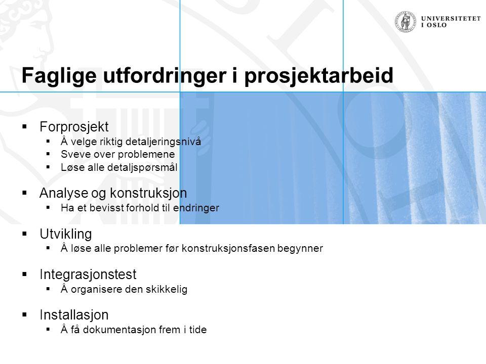 Faglige utfordringer i prosjektarbeid  Forprosjekt  Å velge riktig detaljeringsnivå  Sveve over problemene  Løse alle detaljspørsmål  Analyse og