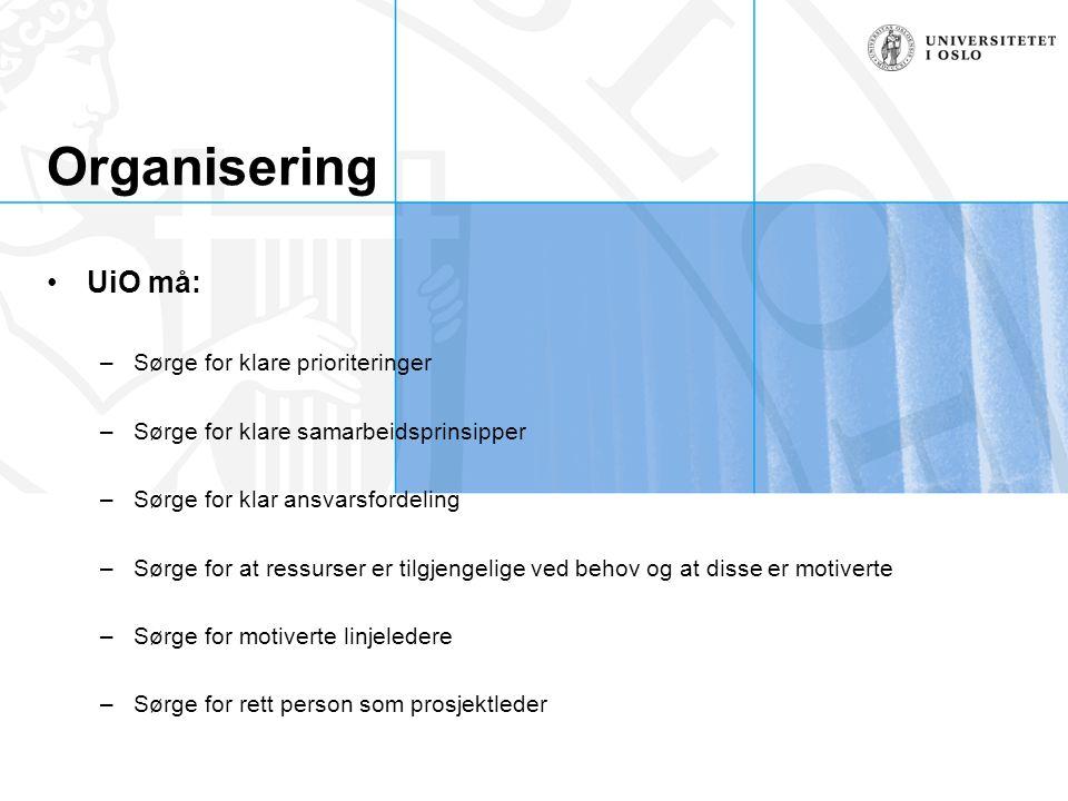 Organisering UiO må: –Sørge for klare prioriteringer –Sørge for klare samarbeidsprinsipper –Sørge for klar ansvarsfordeling –Sørge for at ressurser er