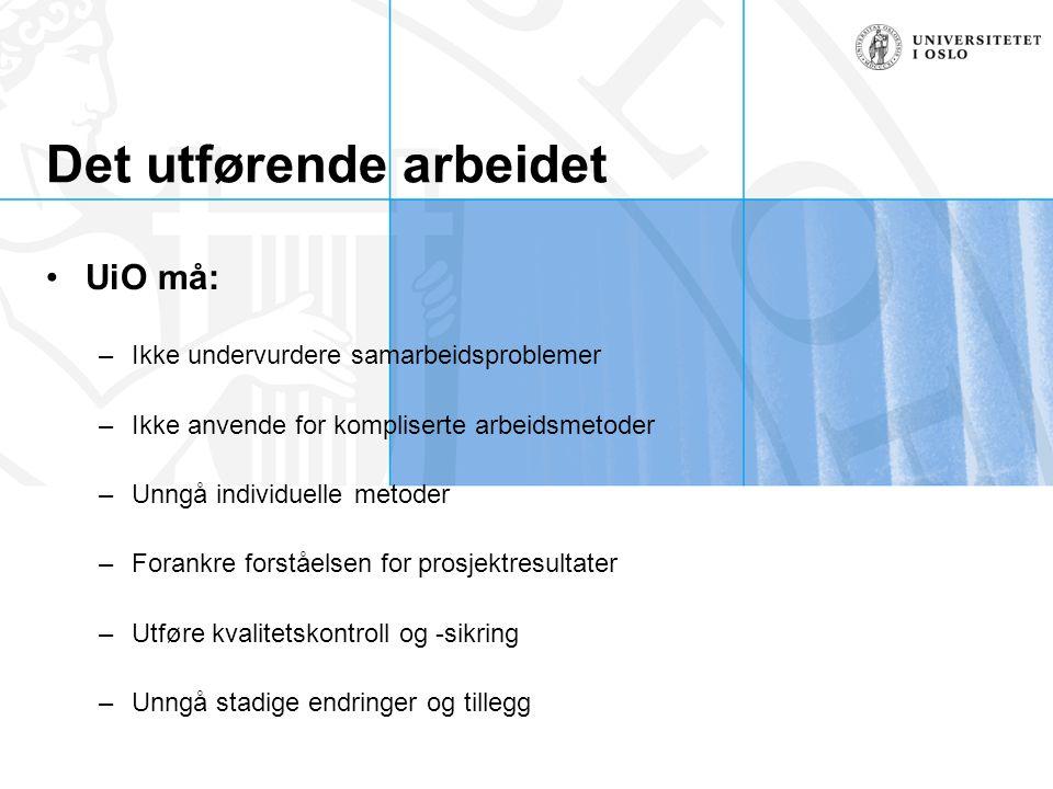 Det utførende arbeidet UiO må: –Ikke undervurdere samarbeidsproblemer –Ikke anvende for kompliserte arbeidsmetoder –Unngå individuelle metoder –Forank