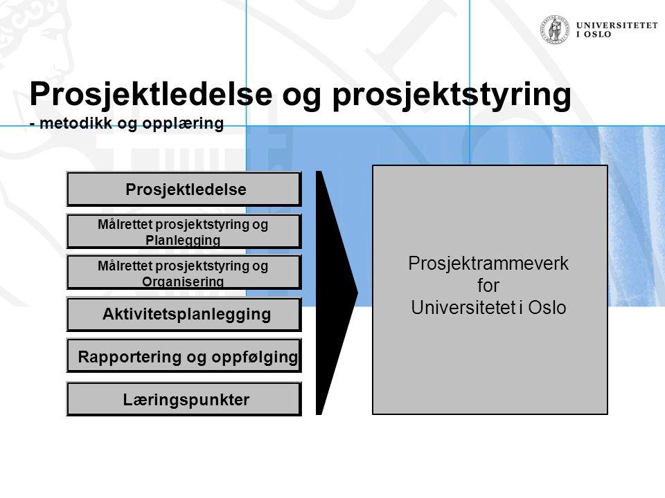 Prosjektledelse og prosjektstyring - metodikk og opplæring Målrettet prosjektstyring og Planlegging Aktivitetsplanlegging Rapportering og oppfølging L