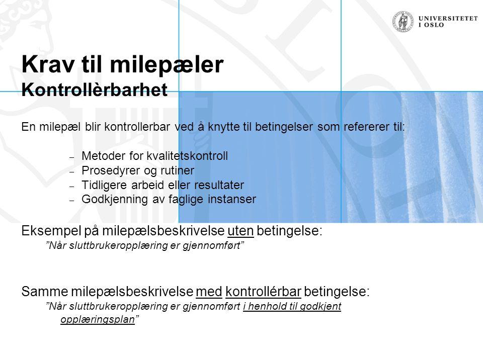 Krav til milepæler Kontrollèrbarhet En milepæl blir kontrollerbar ved å knytte til betingelser som refererer til: – Metoder for kvalitetskontroll – Pr