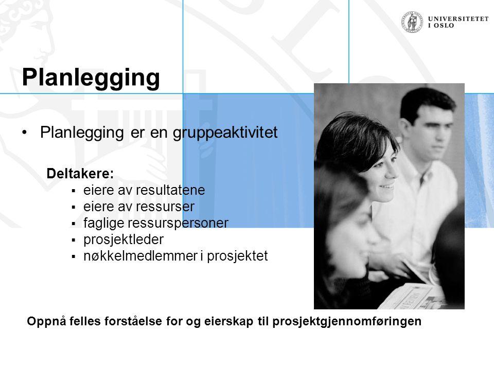 Planlegging Planlegging er en gruppeaktivitet Deltakere:  eiere av resultatene  eiere av ressurser  faglige ressurspersoner  prosjektleder  nøkke