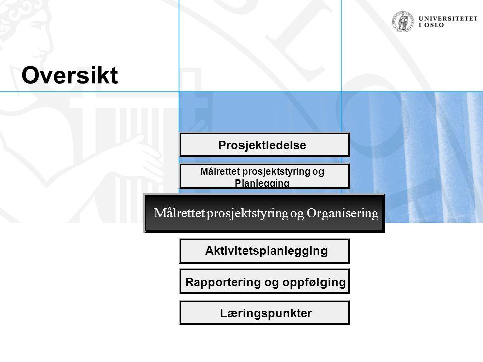 Oversikt Prosjektledelse Aktivitetsplanlegging Rapportering og oppfølging Læringspunkter Målrettet prosjektstyring og Planlegging Målrettet prosjektst