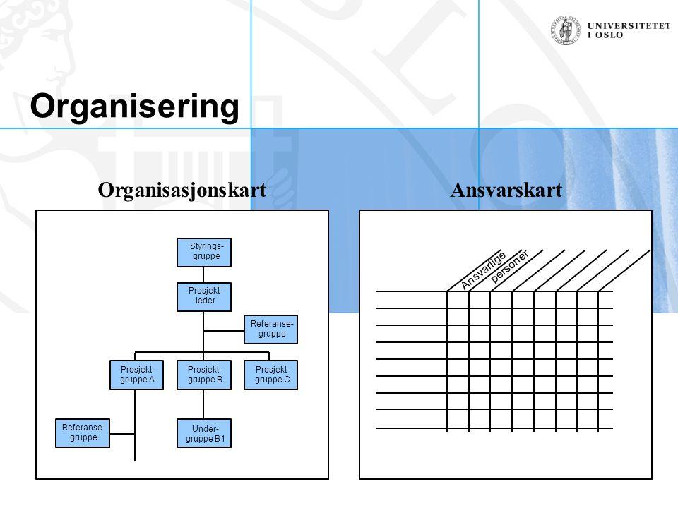 Organisering Ansvarlige personer OrganisasjonskartAnsvarskart Styrings- gruppe Prosjekt- leder Referanse- gruppe Prosjekt- gruppe C Prosjekt- gruppe B
