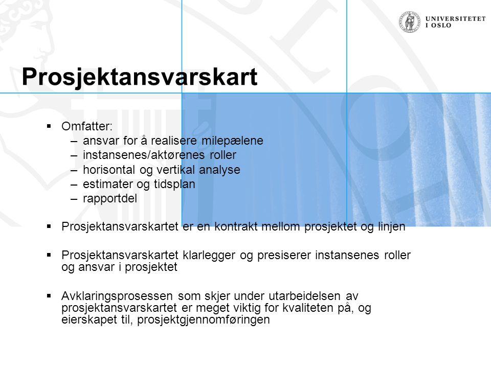 Prosjektansvarskart  Omfatter: –ansvar for å realisere milepælene –instansenes/aktørenes roller –horisontal og vertikal analyse –estimater og tidspla