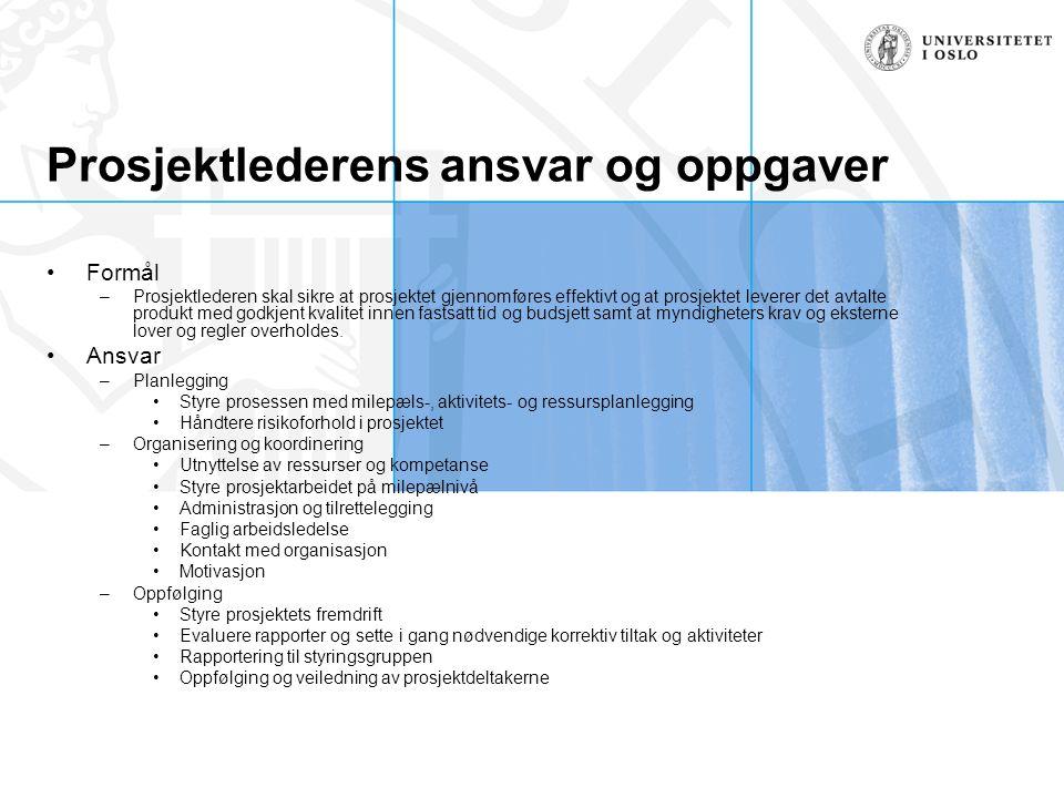 Prosjektlederens ansvar og oppgaver Formål –Prosjektlederen skal sikre at prosjektet gjennomføres effektivt og at prosjektet leverer det avtalte produ