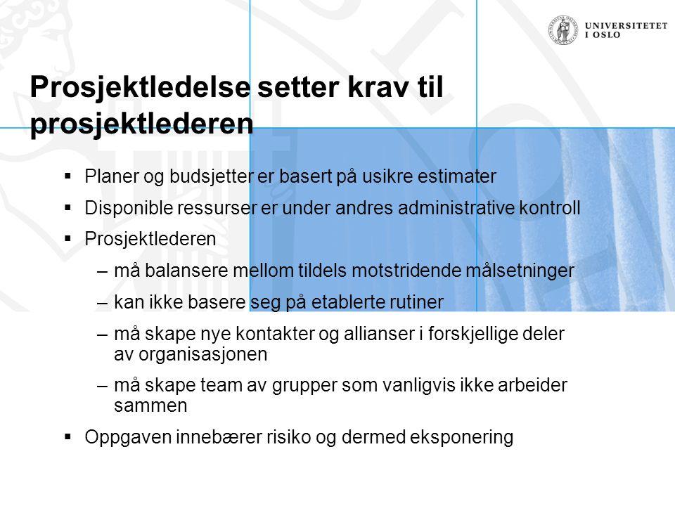 Prosjektledelse setter krav til prosjektlederen  Planer og budsjetter er basert på usikre estimater  Disponible ressurser er under andres administra