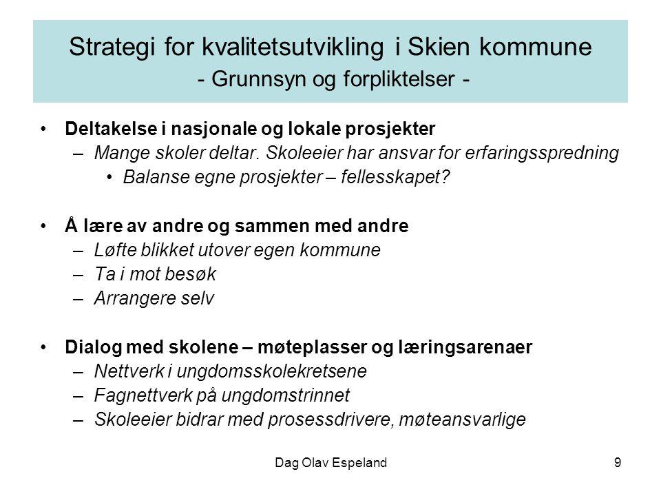 Dag Olav Espeland9 Strategi for kvalitetsutvikling i Skien kommune - Grunnsyn og forpliktelser - Deltakelse i nasjonale og lokale prosjekter –Mange skoler deltar.