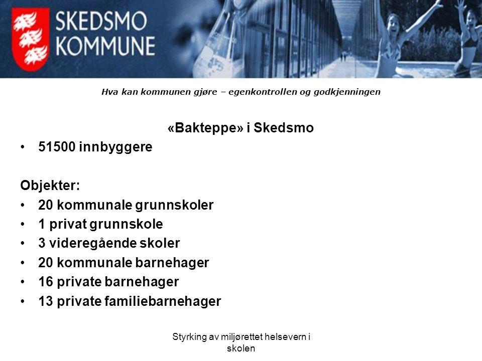 Styrking av miljørettet helsevern i skolen Hva kan kommunen gjøre – egenkontrollen og godkjenningen «Bakteppe» i Skedsmo 51500 innbyggere Objekter: 20