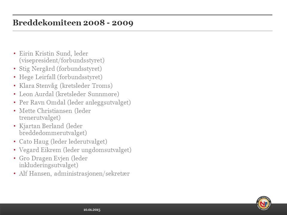 10.01.2015 Breddekomiteen 2008 - 2009 Eirin Kristin Sund, leder (visepresident/forbundsstyret) Stig Nergård (forbundsstyret) Hege Leirfall (forbundsst